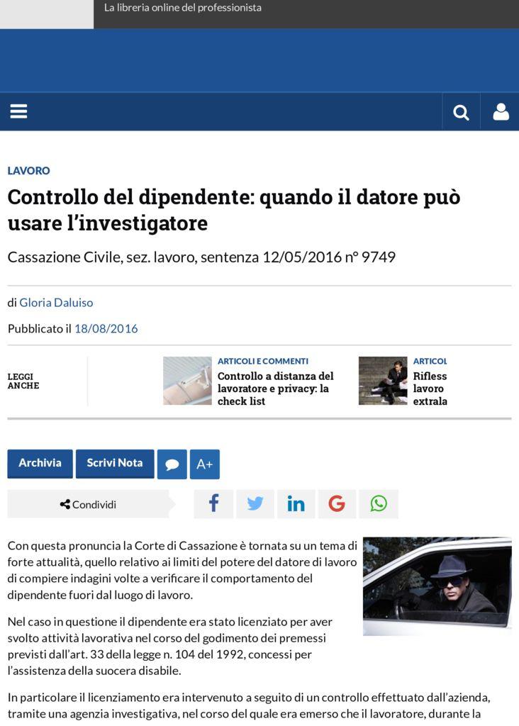 thumbnail of Controllo del dipendente: quando il datore può usare l'investigatore | Altalex