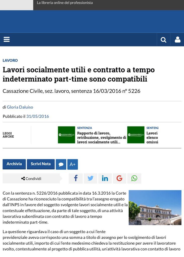 thumbnail of Lavori socialmente utili e contratto a tempo indeterminato part-time sono compatibili | Altalex