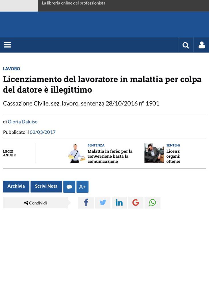 thumbnail of Licenziamento del lavoratore in malattia per colpa del datore è illegittimo | Altalex