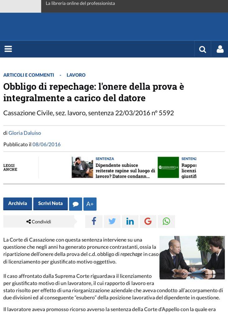 thumbnail of Obbligo di repechage: l'onere della prova è integralmente a carico del datore | Altalex